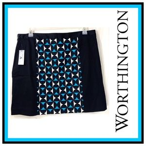 Worthington Retro Squares Skirt Size 16 Nwt
